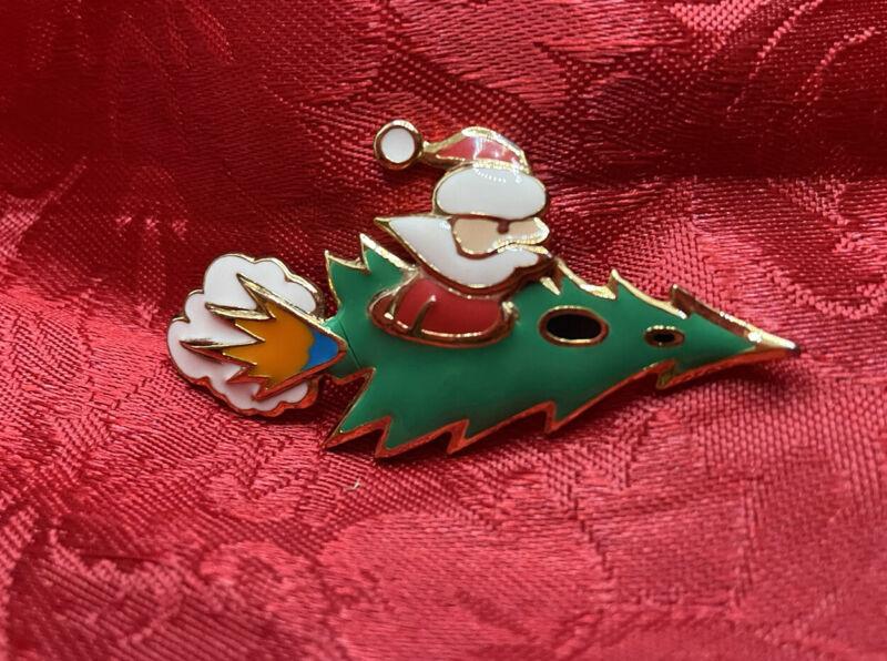 Santa Christmas Tree Rocket pin Brooch Enamel Painted Holiday Humor