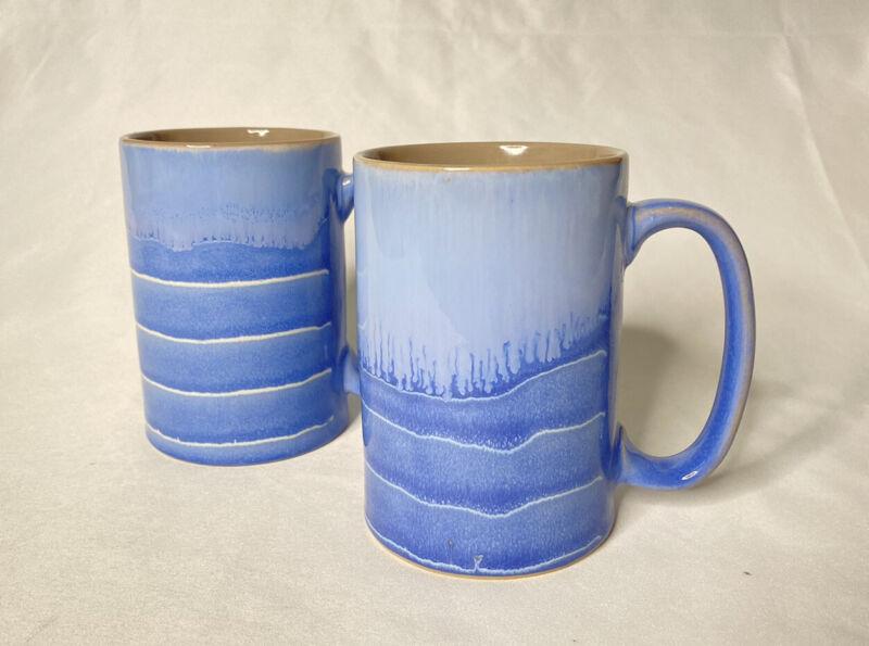 Set of 2 Meritage Stoneware Drip Glaze Coffee Mugs Cups