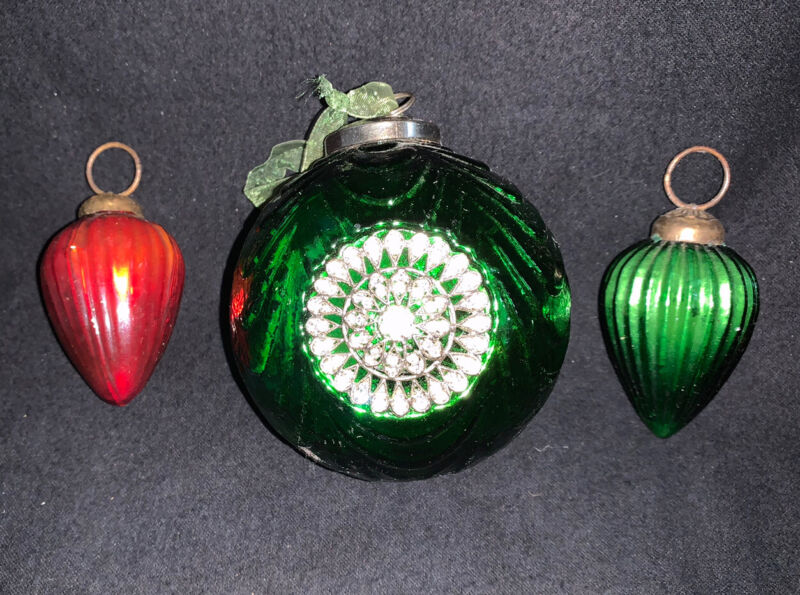 3 VTG Kugel Style Heavy Glass Ornaments, 2 Teardrop, Large Rhinestone Medallions