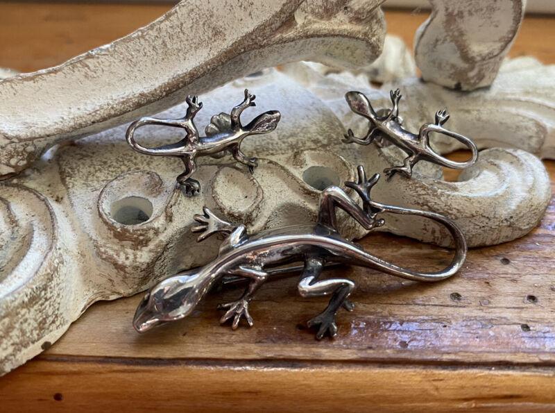 Vintage Art Nouveau Salamander Cini Sterling Brooch Pin & Earring Set