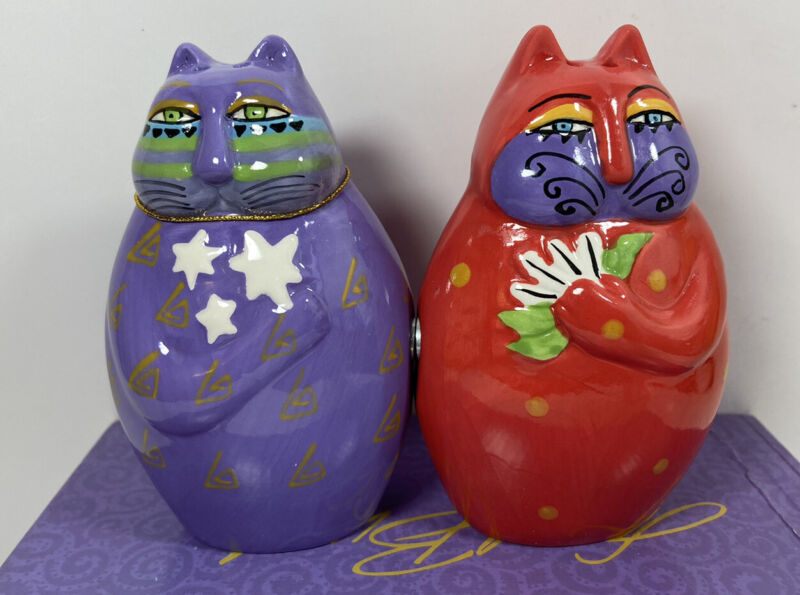 Laurel Burch Colorful Ceramic Cat Salt and Pepper Shakers NIP