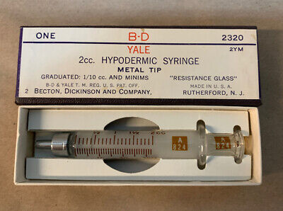B-d Yale 2cc Hypodermic Glass Syringe Metal Tip 2320 2ym Becton Dickinson New
