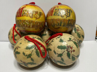 Vtg Papier Mache Christmas Tree Ball Ornaments Set Of 7 -