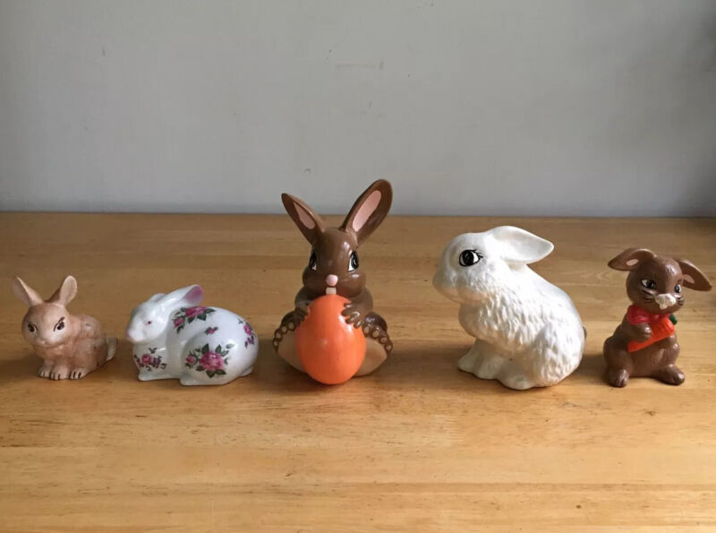 Lot Of 5 Assorted Ceramic Bunny Rabbits—Vintage