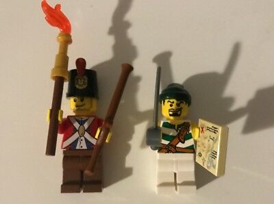 LEGO 1 Imperial Soldier Redcoat & 1 Pirate Minifigure with Swords and gun 6239 (Guns And Swords)