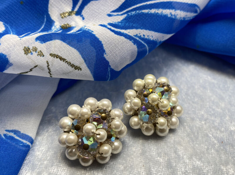 Vintage Signed Japan White Faux Pearl Cluster Clip on AB Crystal 1950