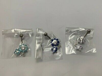 Sterling Silver Belly Button Jewelry Flowers with Rhinestone Lot 3 PCS