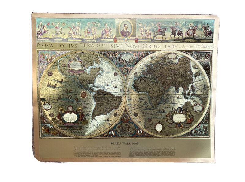 "Blaeu Wall Map Gold Metallic Foil Print 17"" x 21"" Printed England By FJ Warren"