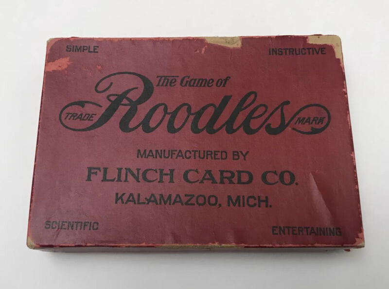 Vintage 1912 THE GAME OF ROODLES Card Game Original Box Flinch Card Co. Rare!