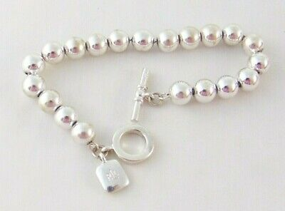 """RALPH LAUREN SILVER PLATED BEAD BRACELET 7 1/4"""" ON CHAIN 8mm TOGGLE SIGNED"""