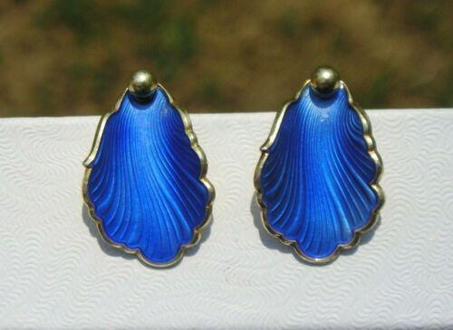 Vintage Sterling 925 Hans Myhre Anchor Guilloche Blue Enamel Earrings Norway