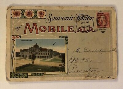 1917 MOBILE Alabama Souvenir Postcard Folder Curt Teich Souvenir Postcard Folder