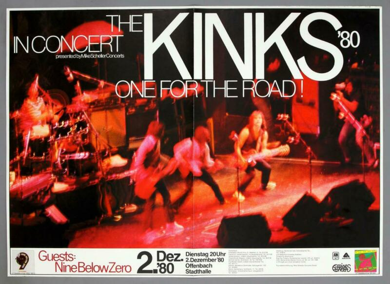 THE KINKS - rare vintage original Offenbach 1980 ONE FOR THE ROAD concert poster