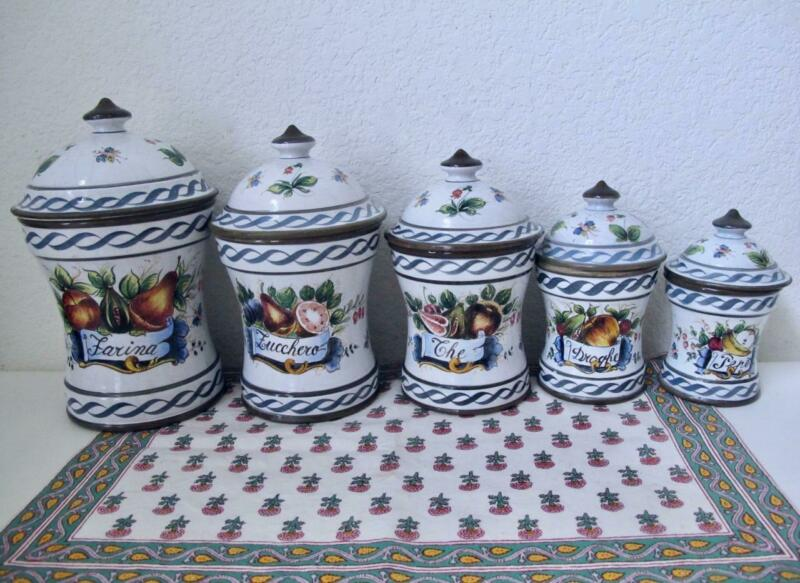 Vintage Bassano Italy Canister Set 5 PC Hand Painted Fruits Bugs Flowers Tuscan