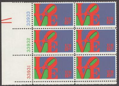 Scott # 1475 - US Plate Block Of 6 - Love - MNH - 1973