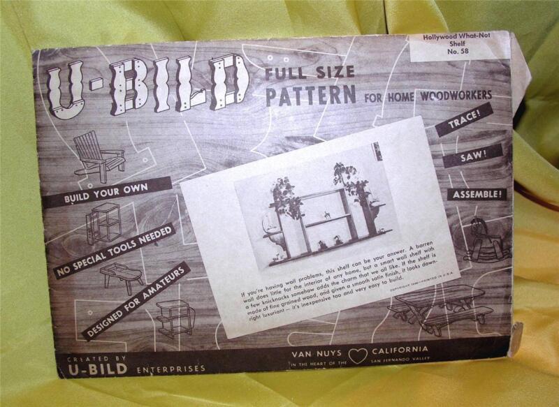 VTG DIY 1948 U-BILD FULL SIZE WOODWORKING PATTERN, HOLLYWOOD WHAT-NOT SHELF