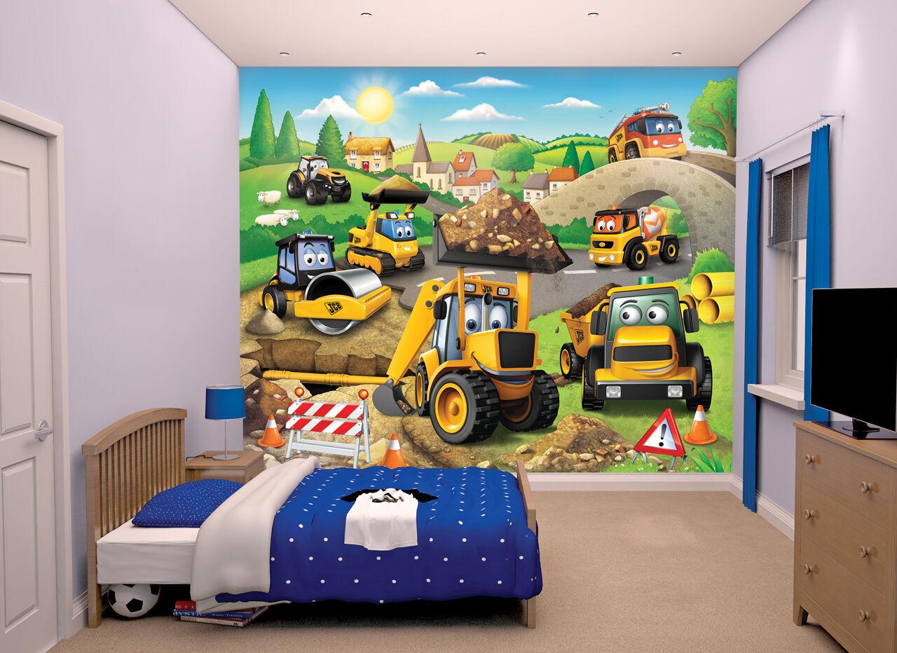 my first jcb walltastic wallpaper mural for kids bedrooms. Black Bedroom Furniture Sets. Home Design Ideas