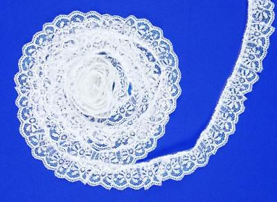 (WHITE/SILVER~1 1/4 Inch Wide Ruffled Candlewick Lace Trim~By 5 Yards)