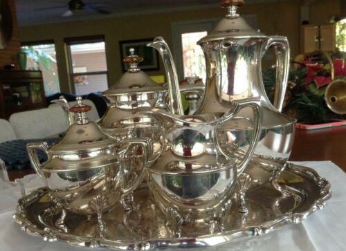 Vintage Silver Plate Tea set 5 pics plus Tray