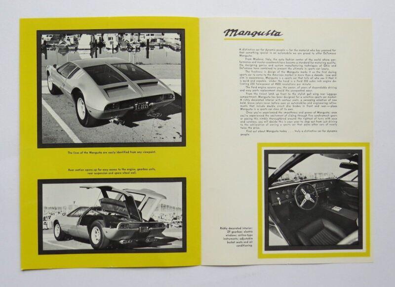 1969 DeTomaso Mangusta US Brochure Vintage Original