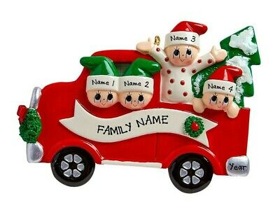 [NAME PERSONALIZED Tree Day Family of 4 Christmas Tree Ornament </Title]