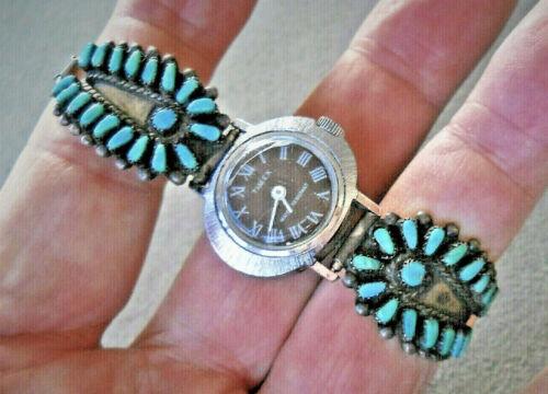 Old Native American Zuni Petit Point Cluster Sterling Silver Watch Bracelet