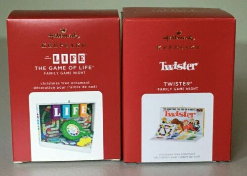 Hallmark Family Game Night Ornaments 2020 THE GAME OF LIFE #7 & 2021 TWISTER #8