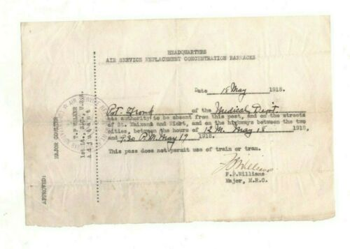 U.S. AIR SERVICE HDQRTS,MAY 1918 AUTHORIZING SOLDIER ON LEAVE FROM MEDICAL DEPT.