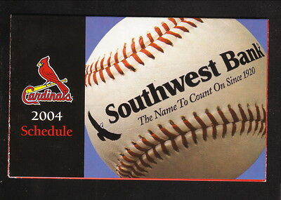 St Louis Cardinals  2004 Pocket Schedule  Southwest Bank