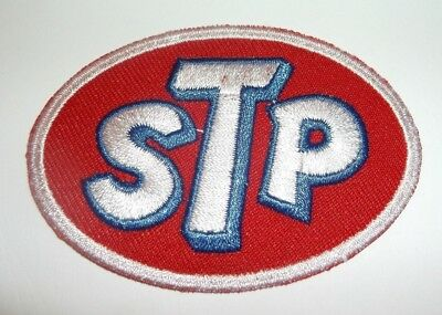 """STP Motor Oil Patch~Car Auto Racing~1 15/16"""" x 2 3/4""""~Embroidered~Iron Sew On"""