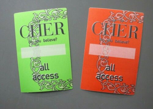 Cher backstage satin passes TWO from Do You Believe Tour ALL ACCESS AUTHENTIC  !