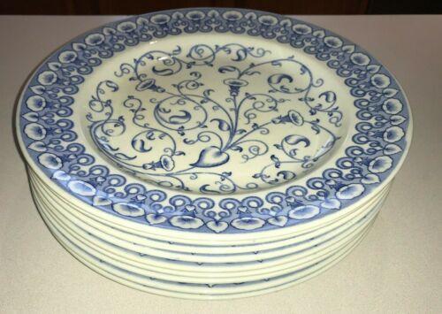 "Vtg Stoneware Brown Westhead Moore Oban 394145 Blue 10"" Dinner Plates Set of 9"