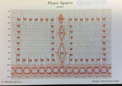 ELLEN MCCARN SMOCKING PLATE #010071 FLOWER SQUARES