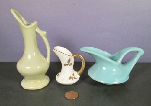 Vintage 3 Ceramic Creamer Dish Lot - Cream Syrup Pitcher Cup Bowl