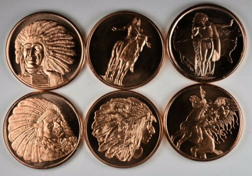 American Indian Series - Set of 6 - 1 AVDP ounce .999 Fine Copper Round