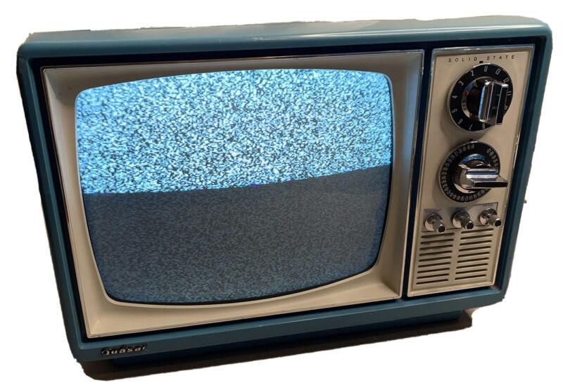 Vintage Quasar  Portable Television Japan 1975 Light Blue Turns On Free Shipping
