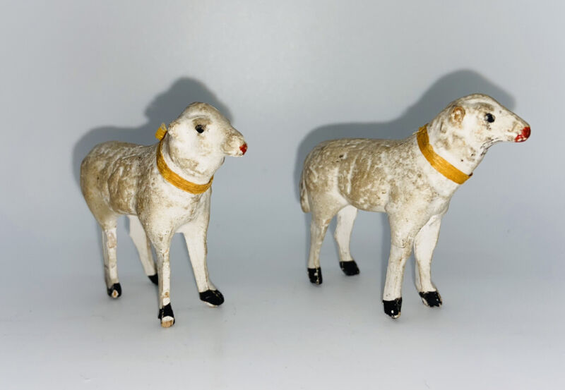 "Vintage 1930s Germany Putz Stick Legs Nativity Sheep Figurine 2"" Tall"