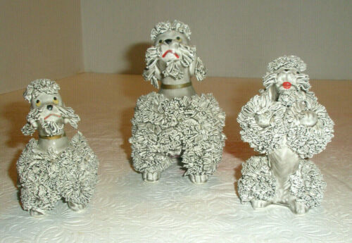 Vintage Set 3 Poodle Figurines Gray Begs Sits Spaghetti Trim