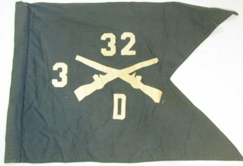 Official Military US Army Military 32nd Infantry D 3/32 Authentic Guidon Flag SH
