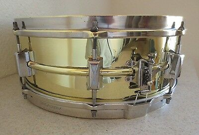 1933 Leedy 8 lug 5x14 Heavy Brass Soldered One Piece Shell Snare Drum