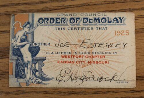 Demolay 1925 Membership Card - Westport Chapter Kansas City MO