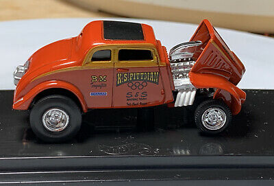 100% Hot Wheels '33 Willys Gasser Orange 1/64 Real Riders Diecast Tilt Front End