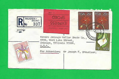 South Africa 1976 SCARCE REGISTERED EXPRESS AIR COVER to CHICAGO- red cancel