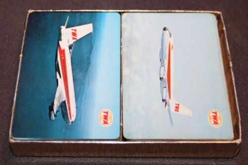 Vintage BOXED Playing Cards PLANES Trans World Airlines TWA Two Decks
