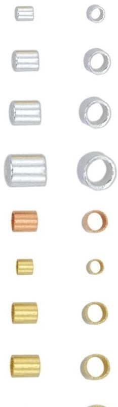 Beadalon Crimp Tubes USA 1x1, 1.8x2, #3,Approx.100Pc.#4-50 PC Silver&Gold&Copper