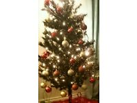 Black 5ft Christmas Tree with approx 100 baubles red and gold
