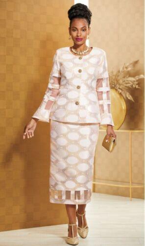 16W PLUS Ashro Ivory Gold Metallic Formal Wedding Church Shalisha Skirt Suit