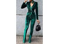 Emerald Green Pleuche Wrap Top + Trousers - Size S / 8 - Brand New Never Worn