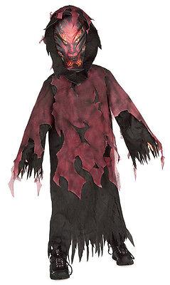 Halloween Voller Kostüme (HALLOWEEN KOSTÜM ZOMBIE TEUFEL HORROR MANTEL VOLL-MASKE durchsichtig 110-140 USA)