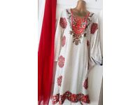 Ivory/White/Cream and Red Kftan Top/Dress - Zee.H.M Fashion